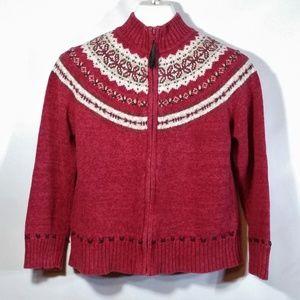 Peruvian Style Knit Zip Jacket Leather Stitching